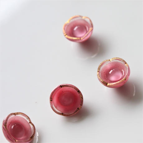【ボタンセット】ピンクの花ガラスボタン2個セット フランスヴィンテージ