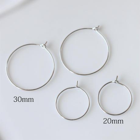 フープピアス20mm  1ペア(2個入り)ロジウム フランスパーツ
