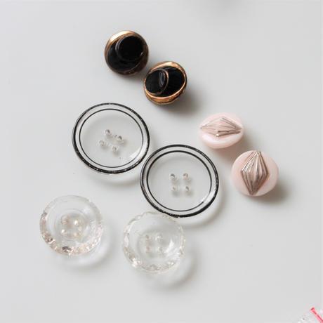 【ボタンセット】透明の薄ガラスボタン2個セット フランスヴィンテージ
