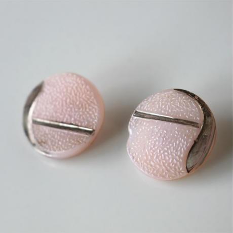 【ボタンセット】桃色同柄ガラスボタン2個セット フランスヴィンテージ