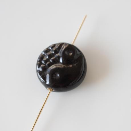 ラウンド陶器ビーズ 17㎜(ブラック)フランスパーツ 434