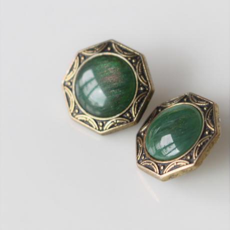 【ボタンセット】france vintage  グリーンメタルボタン2個セット