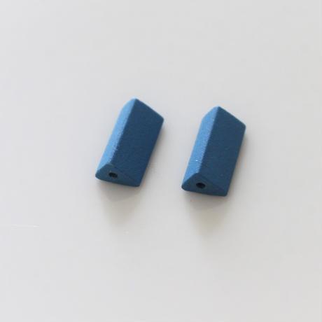 【ビーズセット】三角柱マットビーズ2個(blue)13㎜ 436
