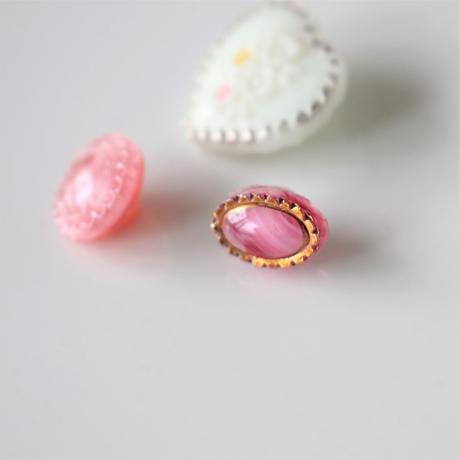 【ボタンセット】ハートと小さなピンクガラスボタン3個セット フランスヴィンテージ