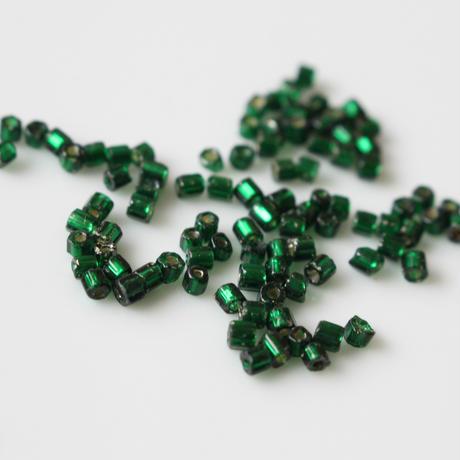 六角ビーズ (green)5g フランスヴィンテージ70年代 シードビーズ