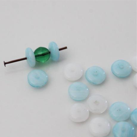 【ビーズセット】小さな円盤型マーブルガラスビーズ20個   france vintage 403