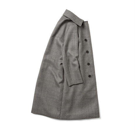 STAND FALL COLLAR COAT -WOOL CHECK-  <UNISEX>