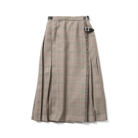 WOOL CHECK WRAP SKIRT