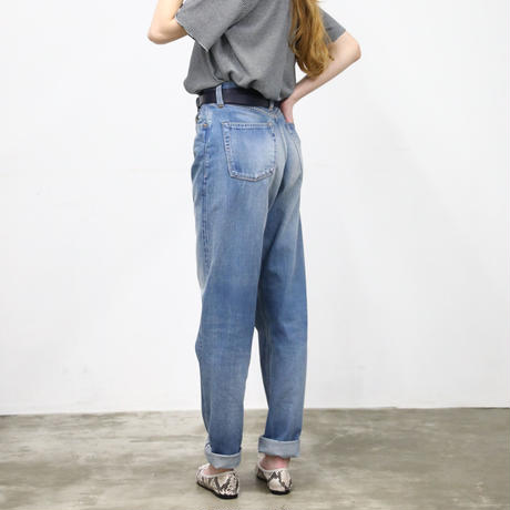 """LUCY"" HIGH WAIST TAPERED JEANS -FADE INDIGO-"