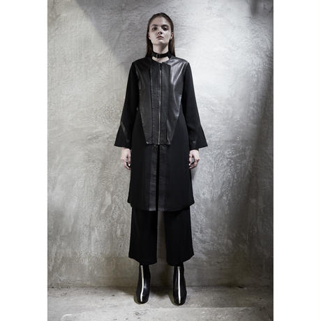 LEATHER FOLDER LONG COAT