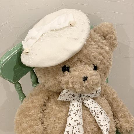 冬のくまさんベレー帽 ホワイト