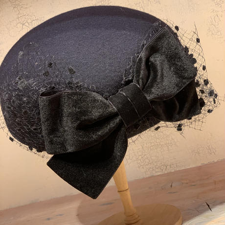 ベロアリボンベレー帽 ネイビー
