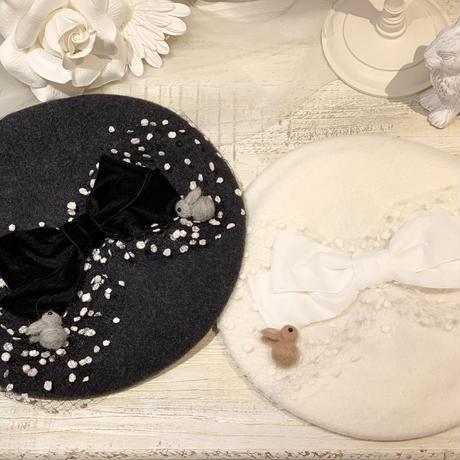 冬のうさぎさんベレー帽 ホワイト