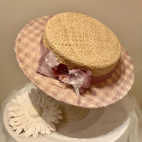 ギンガムフラワーカンカン帽(ラベンダー)