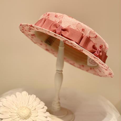 レースフラワーおリボン一周ショートブリムカンカン帽 ピンク