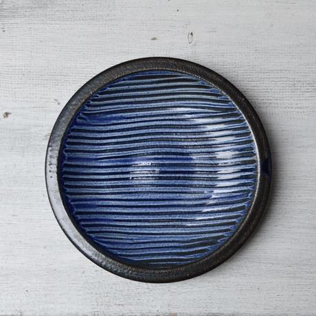 福岡 小石原焼 5寸櫛描き皿 青