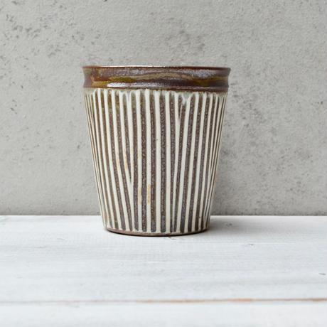 福岡 小石原焼 フリーカップ櫛描き白