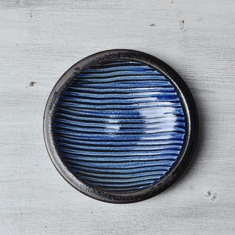 福岡 小石原焼 4寸櫛描き皿 青