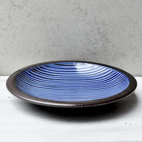 福岡 小石原焼 6寸櫛描き皿 青