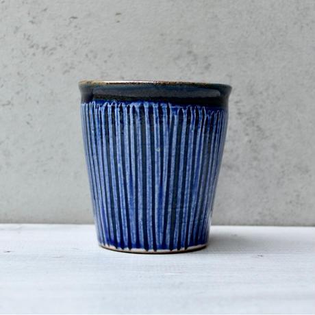 福岡 小石原焼 フリーカップ櫛描き 青