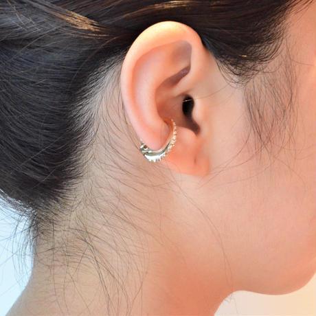 Swarovski element earring (gold / silver shade / 18mm)