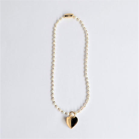 freshwater pearl ball chain necklace (gold / L size: 43cm)