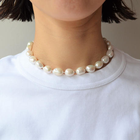 LIMITED COLLECTION 【Freshwater pearl ball chain necklace (big)】