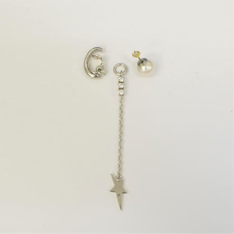 LIMITED COLLECTION【silver star earring × pearl & cubic zirconia pierced earring 】