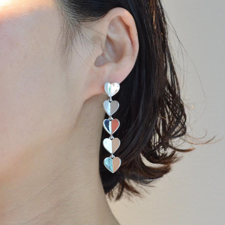 5 hearts pierce (silver / pave clasp)