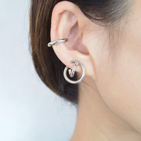crossing double hoop earring (silver)