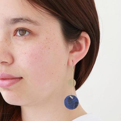 23mm sodalite / k10 post pierced earring