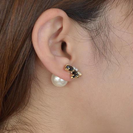 bijoux  4 crystals, pearl pierce  (Black , Pearl Mix)