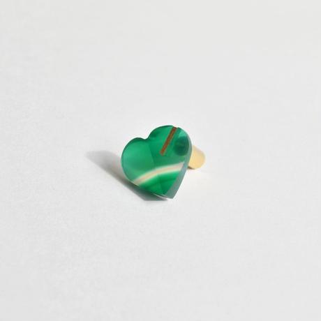 Heart pierced earring (Green agate / K10 post)