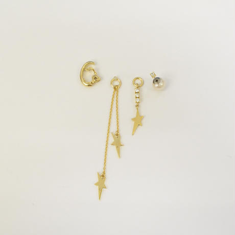 LIMITED COLLECTION【3 stars earring × pearl & cubic zirconia pierced earring ( gold / white )】