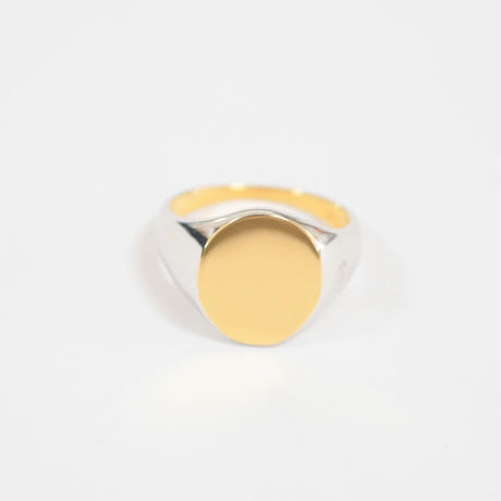 bicolor signet ring (vertical / gold / silver / silver925)