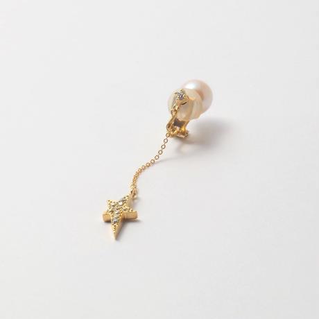 star chain short earring(1cubiczirconia/swarovski element/9mm pearl catch)