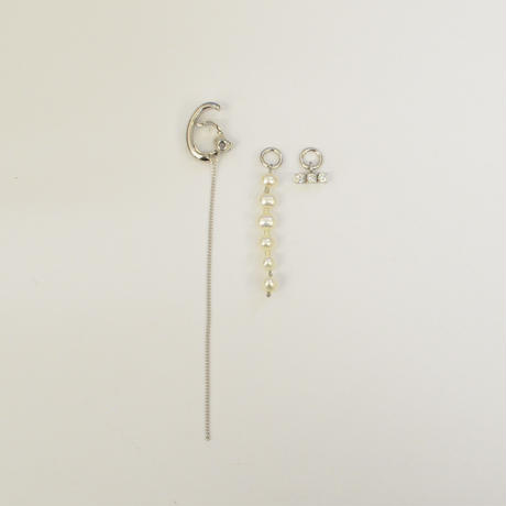 LIMITED COLLECTION【 silver chain earring ( fresh water pearl / cubic zirconia / horizontal  )】