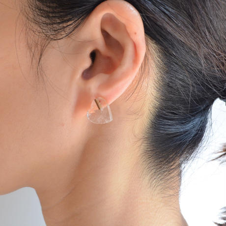 Heart pierced earring (Quartz / K10 post)