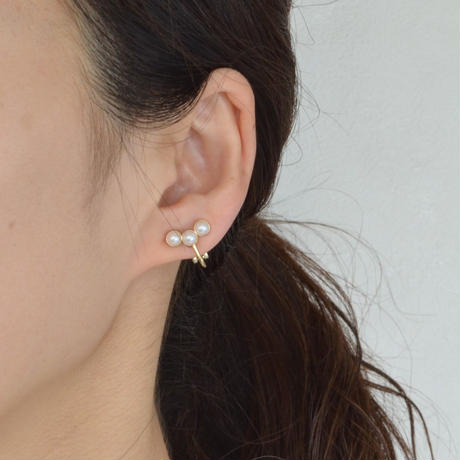 RECOMMEND SET 【bijoux 2 crystals, pearl earring (clear) / three pearl earring(small)】