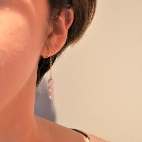 3 pearls chain earring (short)