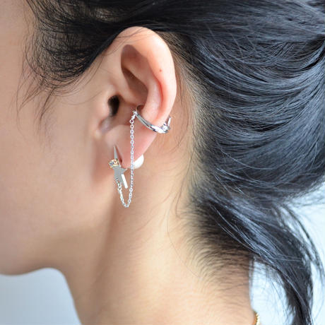 LIMITED COLLECTION 【Silver star earring × Cubic zirconia & pearl pierced earring ( silver )】