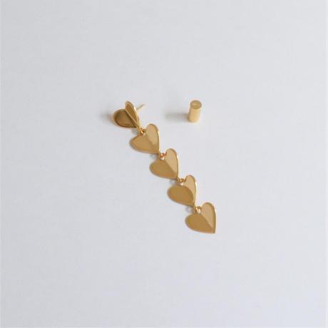 5 hearts pierce (gold / shine gold tube clasp)