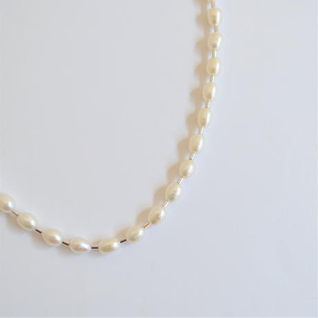 LIMITED COLLECTION 【Baroque pearl ball chain necklace (potato)】