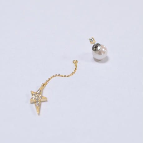 2way star chain short pierce(1cubiczirconia/swarovski element/9mm pearl catch)