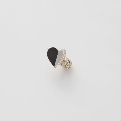 Tiny heart line stone pierce (silver / cubic zirconia / pave clasp)