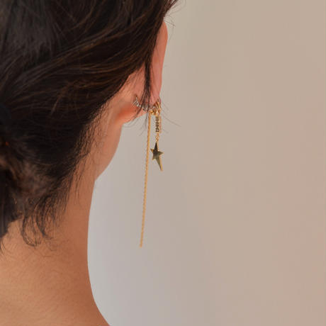 LIMITED COLLECTION【gold chains gold metal star earring (cubic zirconia )】