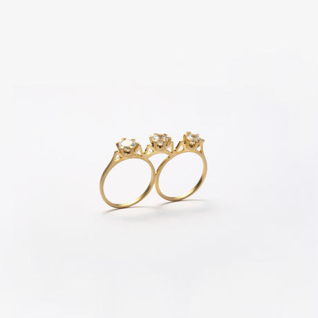 double ring (cubic zirconia / gold)