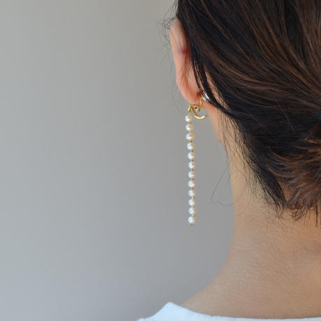 LIMITED COLLECTION【fresh water pearls earring ( 80mm / gold )】