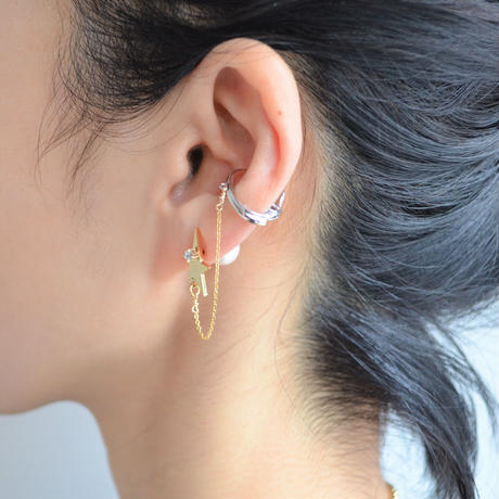 LIMITED COLLECTION 【Gold star earring × Cubic zirconia & pearl pierced earring ( silver / gold )】
