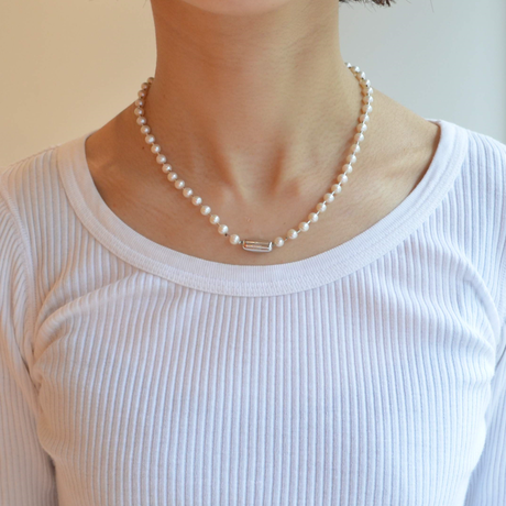 freshwater pearl ball chain necklace (silver / L size: 43cm)